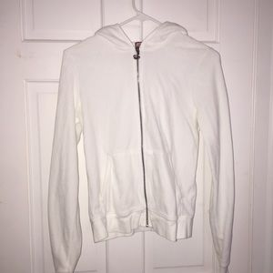 Juicy couture white velour hooded zip up